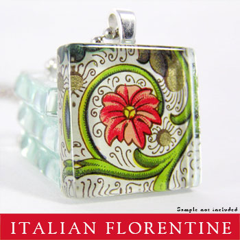 Square Glass Pendant Kit with Florentine Paper