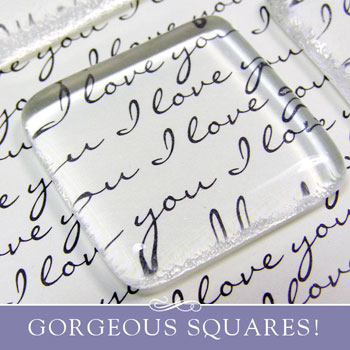 "Gorgeous 1"" Clear Glass Squares for Pendants"