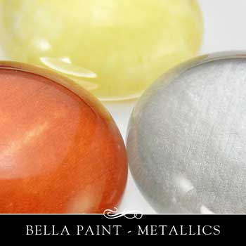 Bella Paint in metallic copper, silver and gold.